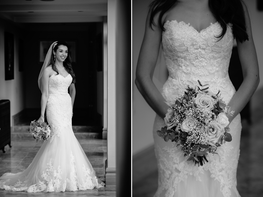 The bride with her dress and bouquet