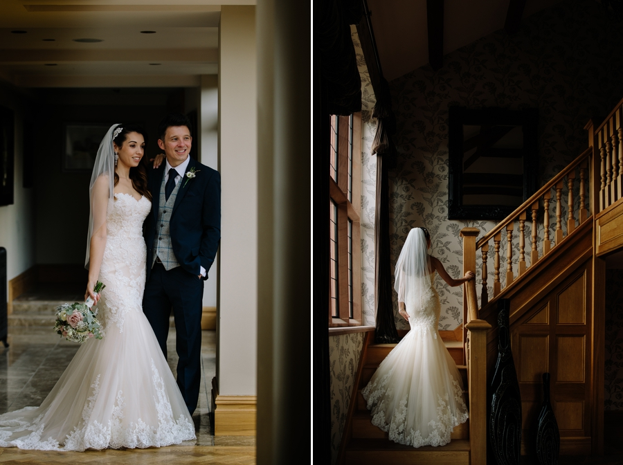 the bride and groom on the staircase