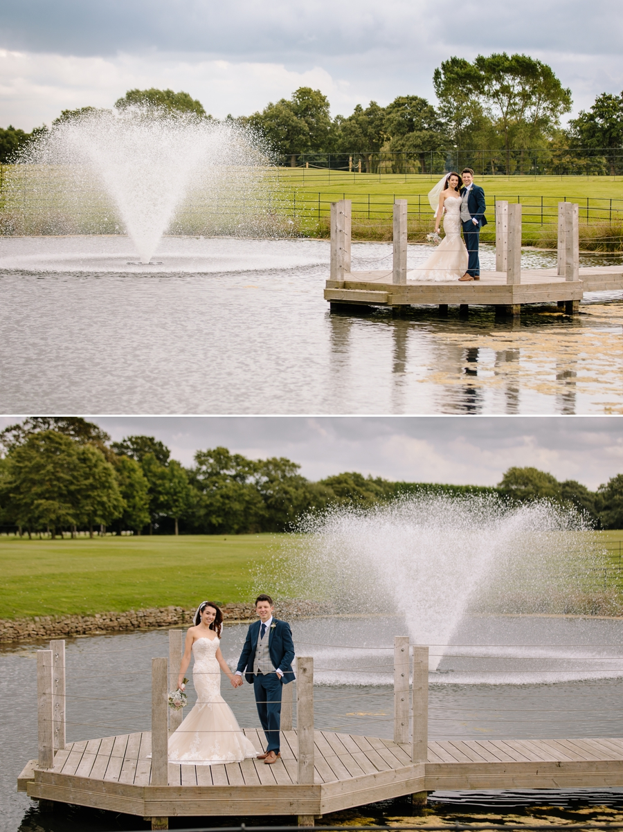 Bride and groom with the water fountain at Merrydale Manor