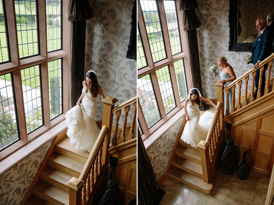 Bride and Bridesmaids on the staircase