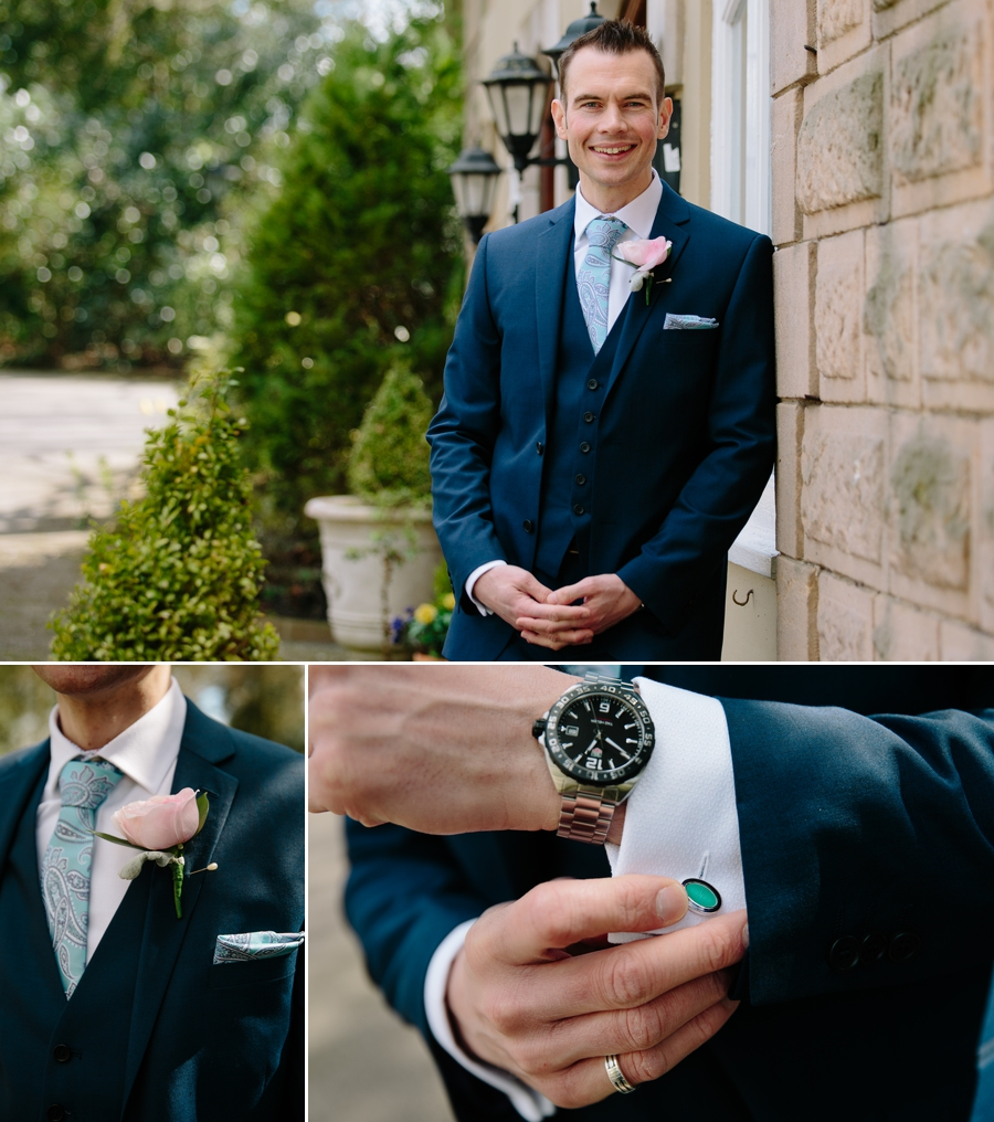 Groom looking cool with his cufflinks and buttonhole