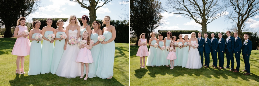 Bridesmaids and Groomsmen together with the Bride and Groom