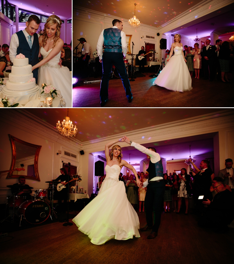 Bride and groom during their first dance at West tower