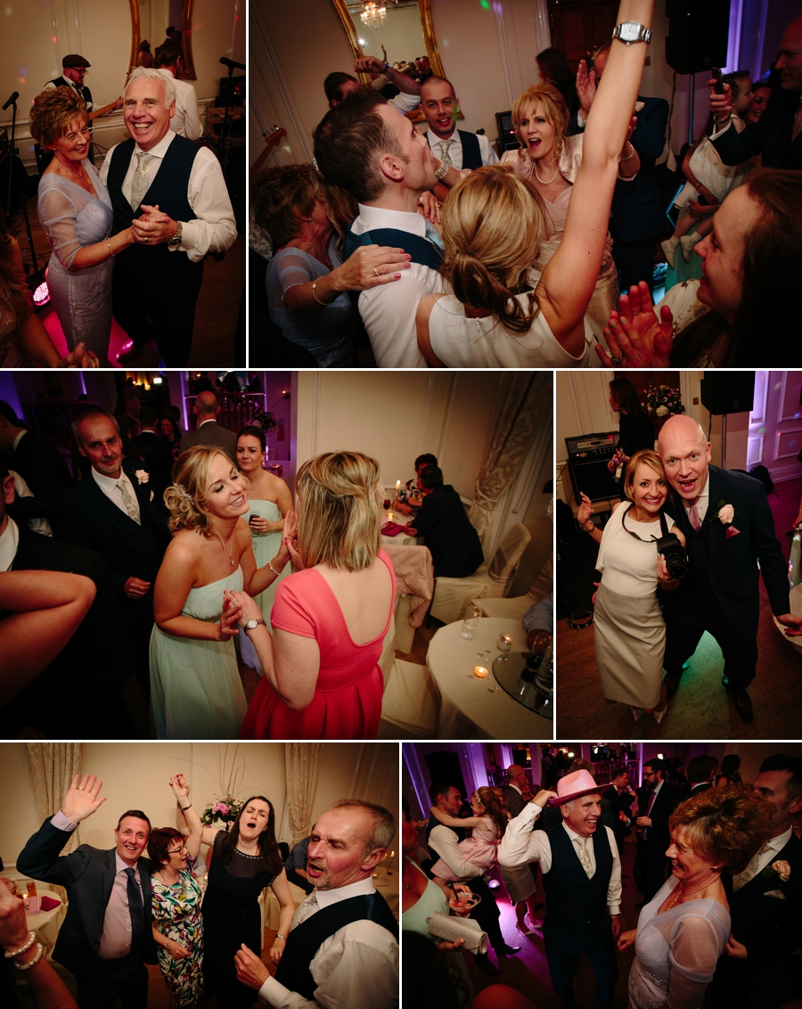 Wedding guests dancing during the party