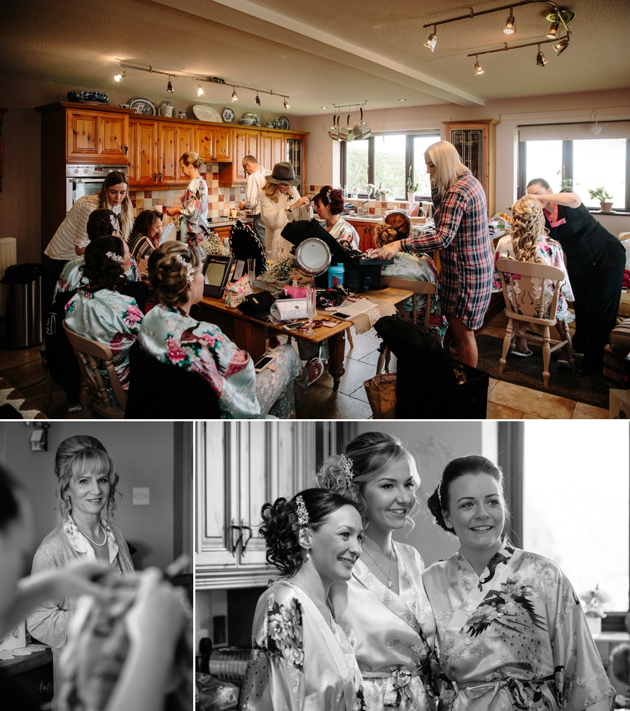 Bridesmaids getting ready with hair and make up