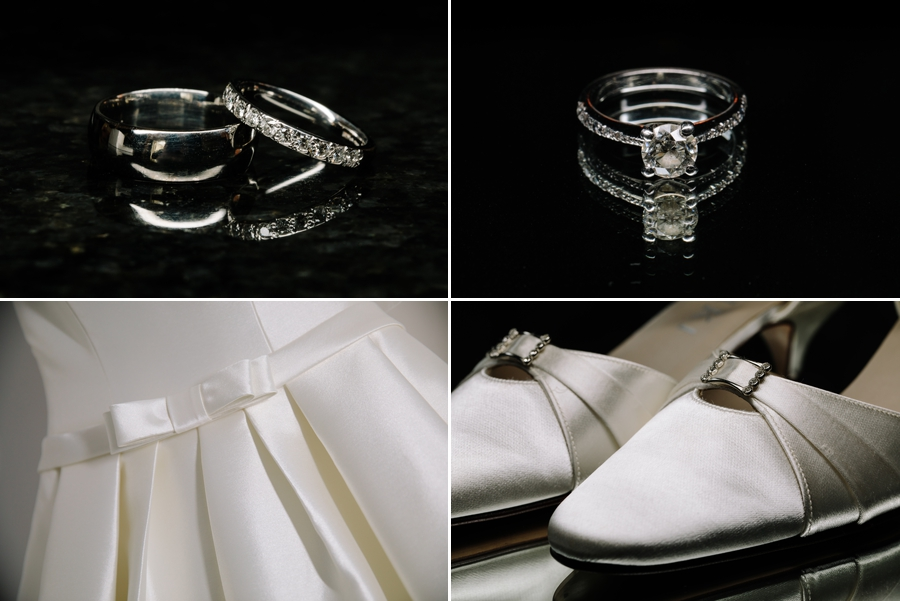 The wedding rings, the wedding dress and the brides shoes