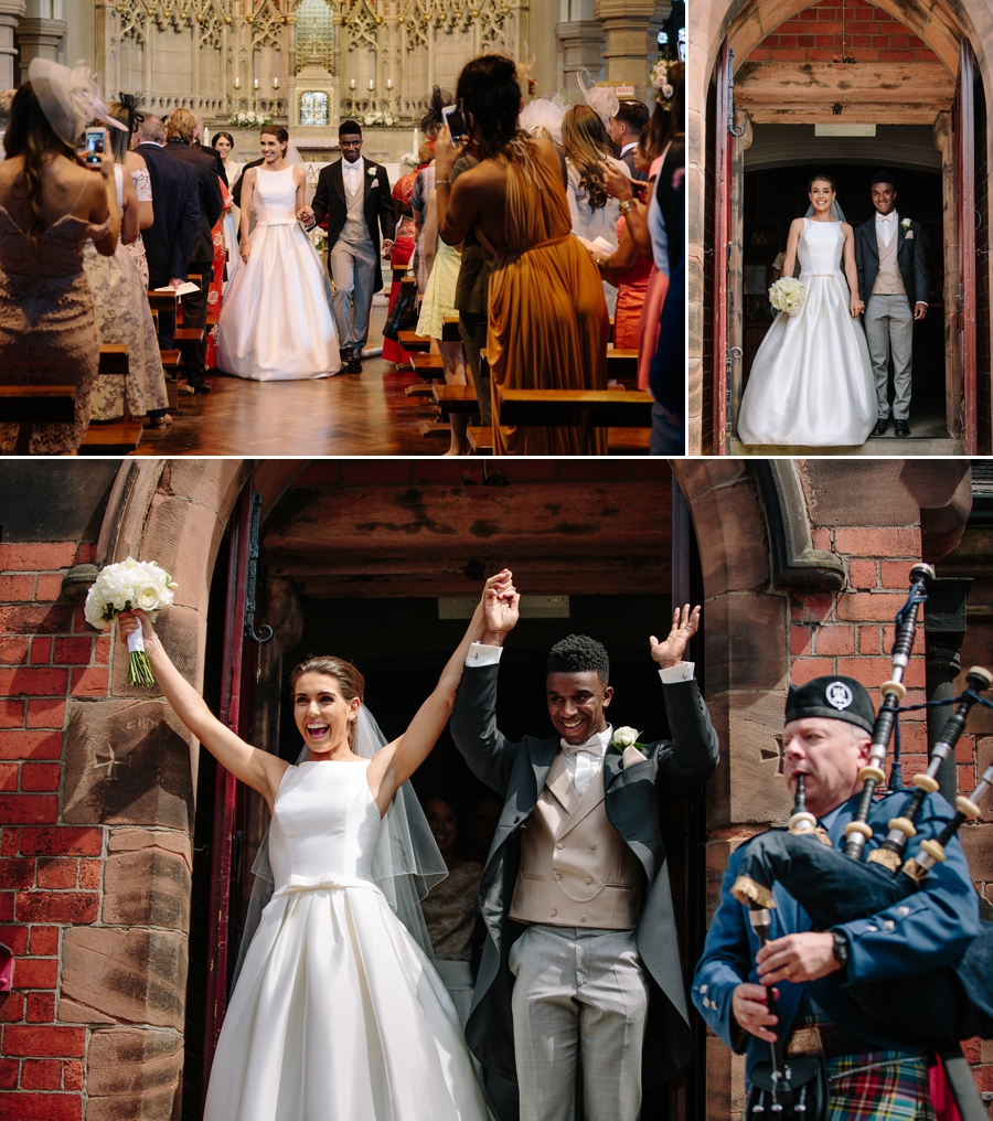 Bride and groom exiting the church with bagpipes paying