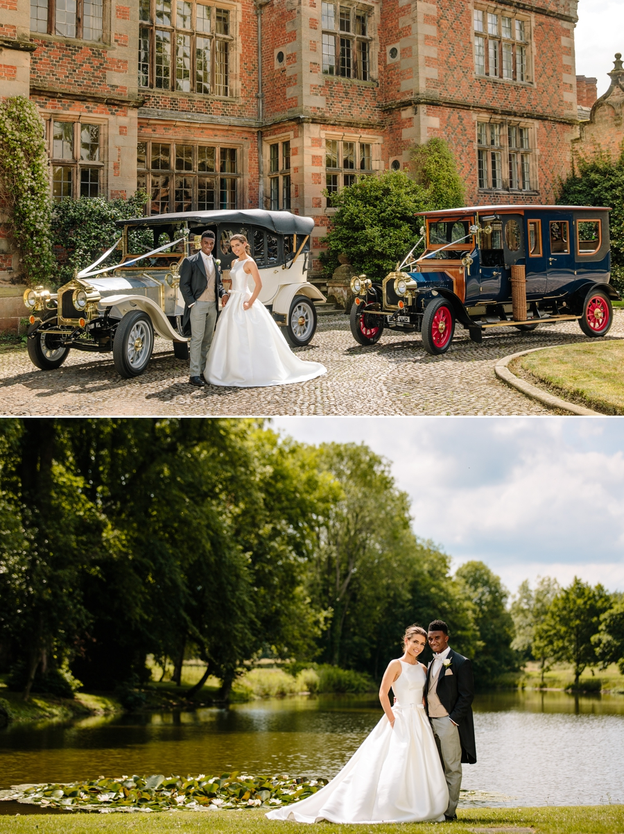 Bride and groom at Dorfold Hall with the wedding cars and in front of the lake