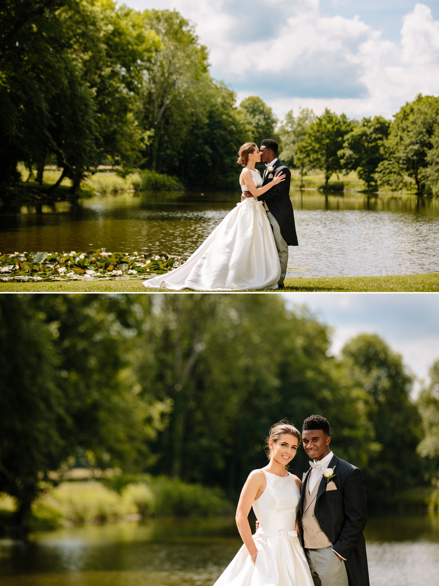 Bride and groom in front of the lake at Dorfold Hall