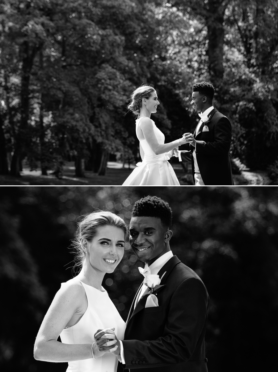 Black and white images of the bride and groom in the sunshine