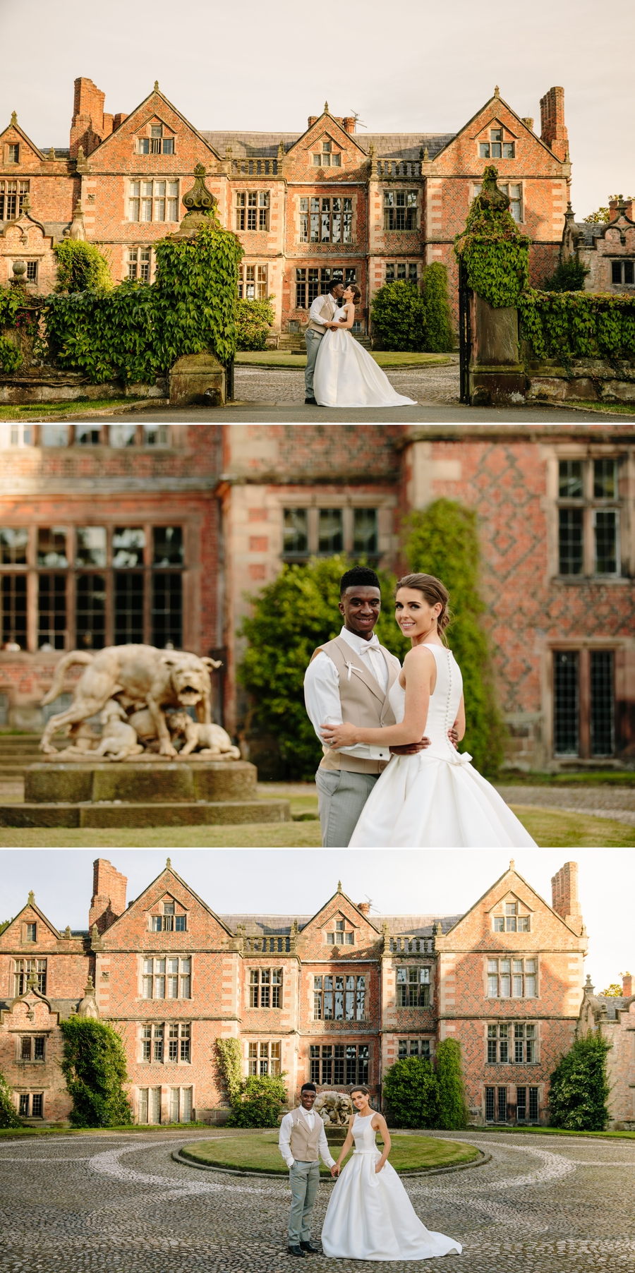 Bride and groom in front of Dorfold Hall