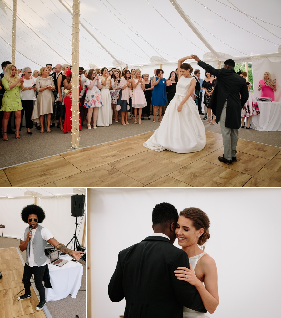 Bride and grooms first dance in the marquee