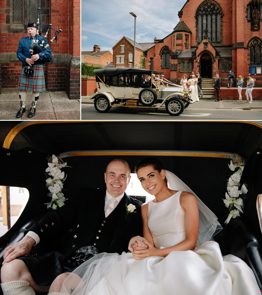 Bagpipes and the bride arriving in the wedding car