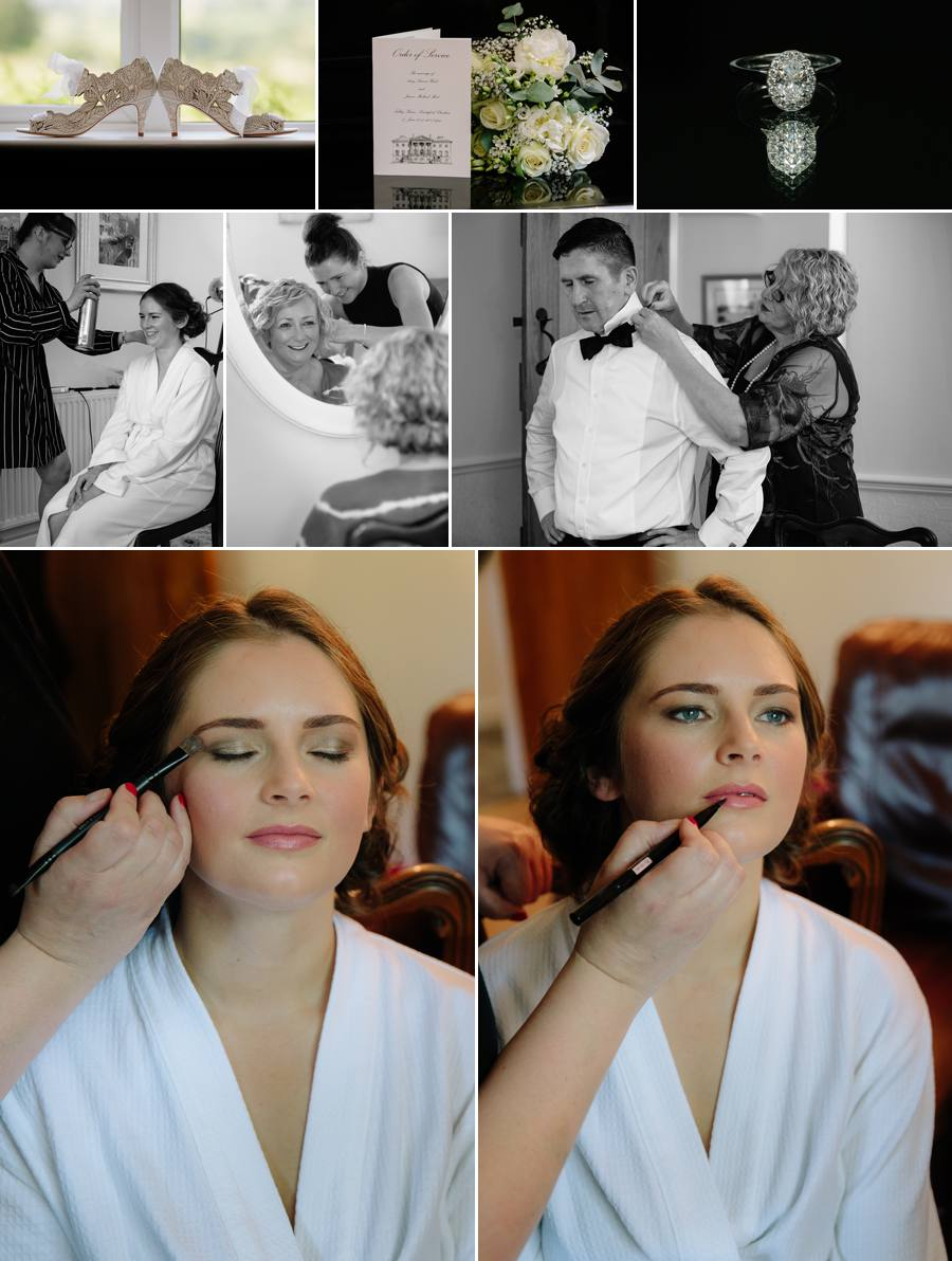 Tabley House Wedding : Bridal preparations with hair and make up