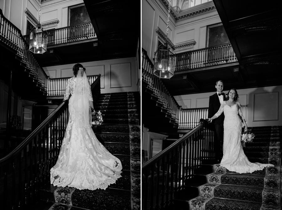 Bride & Groom on the Stairs at Tabley House