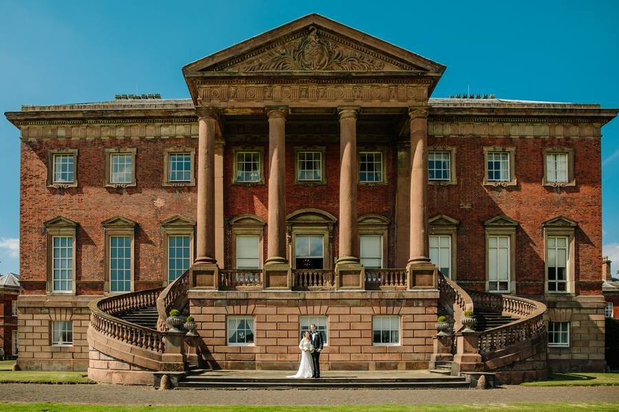 Tabley House Wedding Bride & Groom Outside