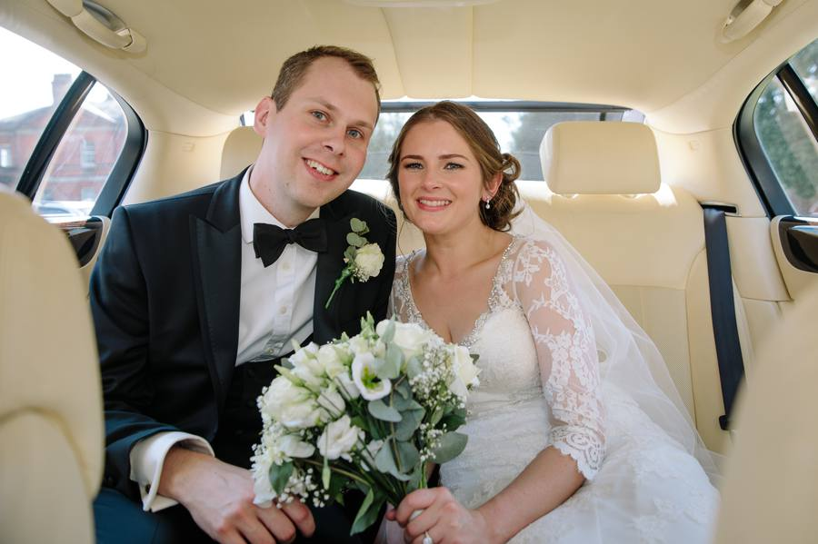 Tabley House Wedding Bride & Groom wedding car