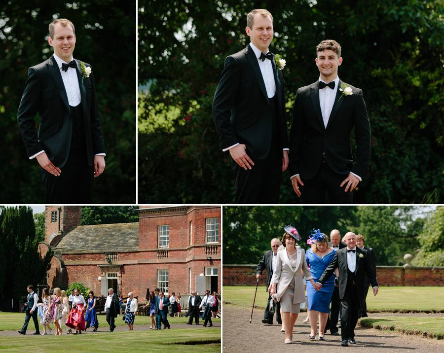 The groom and the groomsmen arriving at Tabley House for the wedding