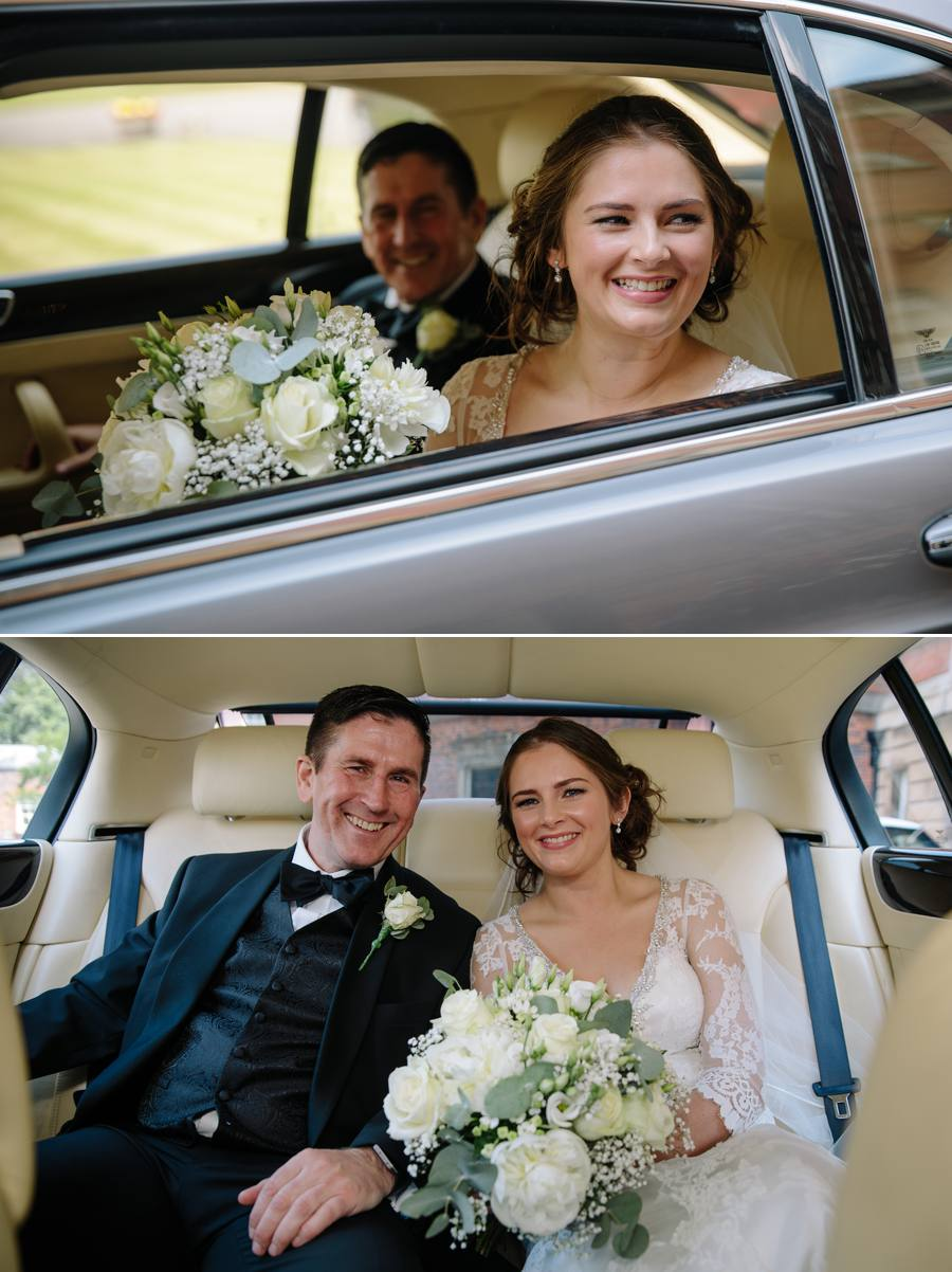 The bride and her father arriving in the wedding car at Tabley House