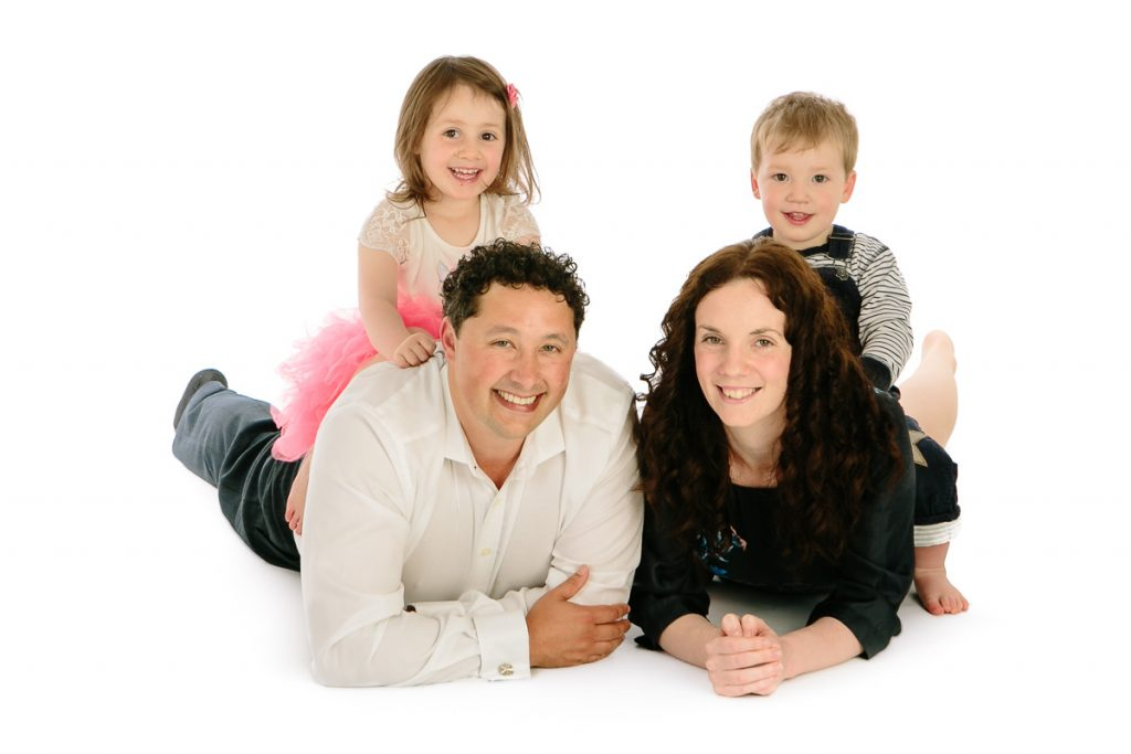 Fun family photography in studio
