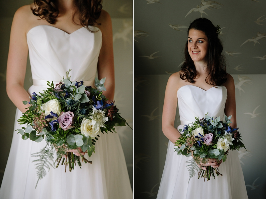 Bridal grown details and wedding flowers