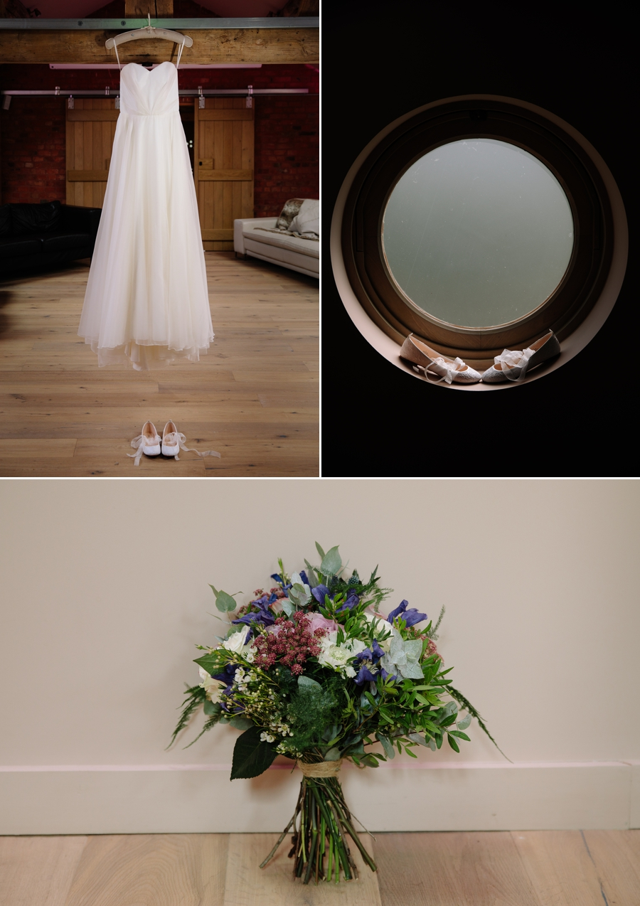 Brides wedding dress hanging from a beam and clever shoe picture with brides bouquet