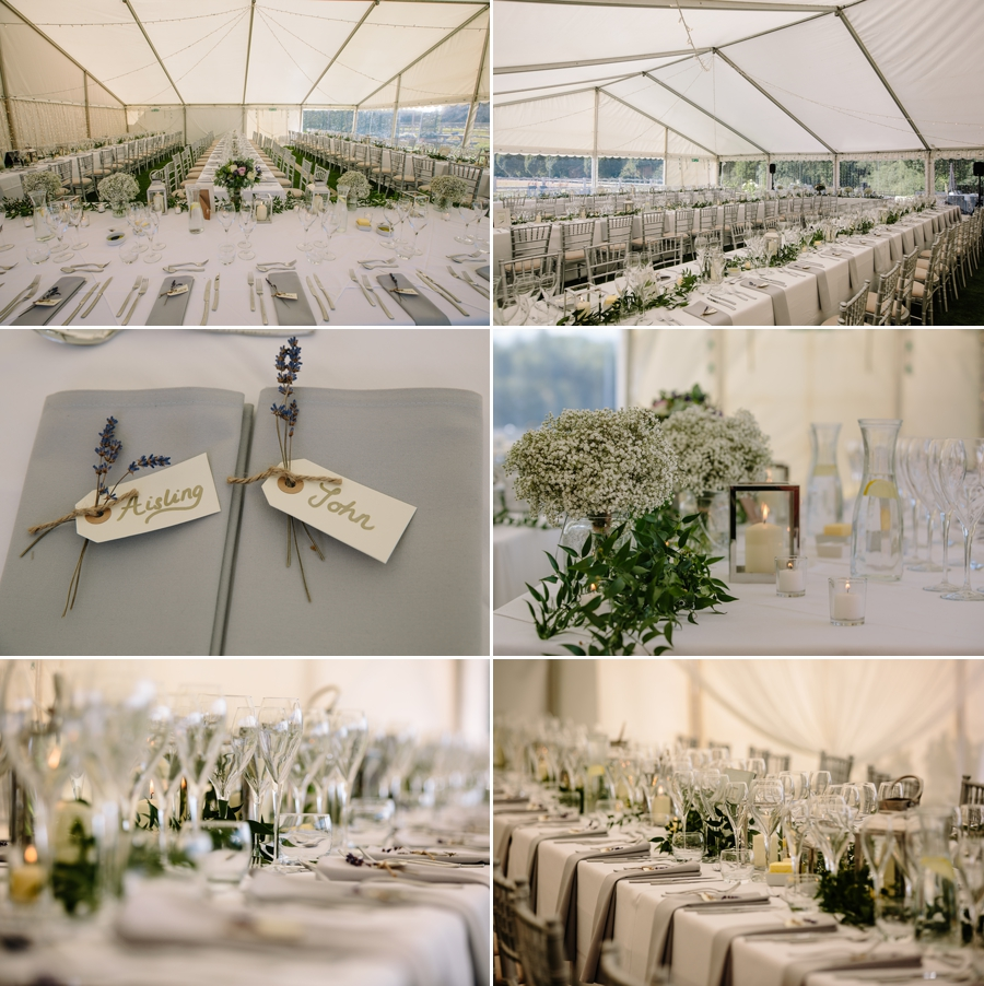 Wedding breakfast at the Holford Estate in the marquee