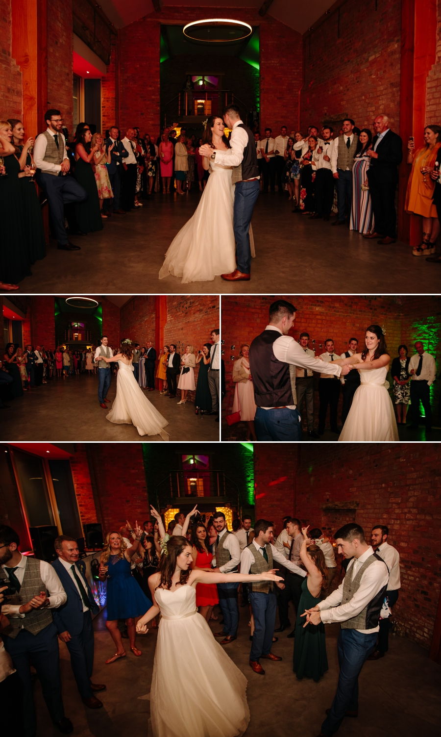 Bride and Groom enjoying their first dance while their guest watch