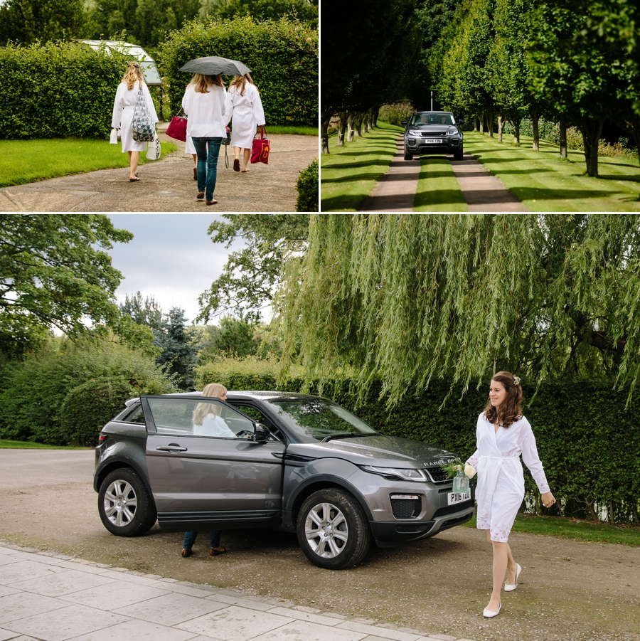 The bride and bridesmaids arriving at Holford Estate