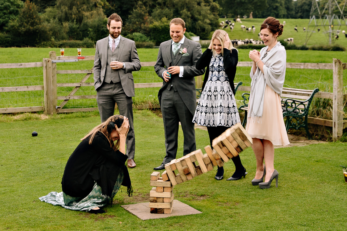 Wedding guests playing party games