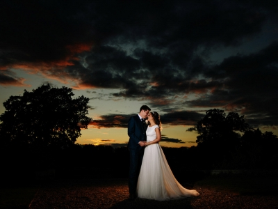 wedding photography cheshire sunset image at Wellington Hall
