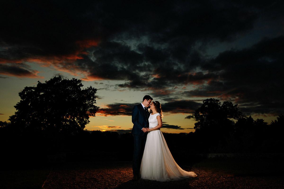 wedding photography cheshire sunset image at Wellington Hall