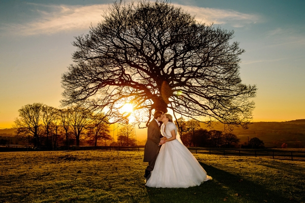 Lovely sunset with the Bride and Groom at Heaton House Farm