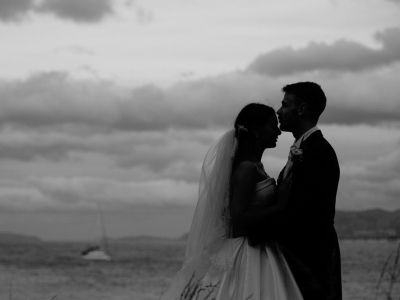 Lovely moment between the Bride and Groom at dusk
