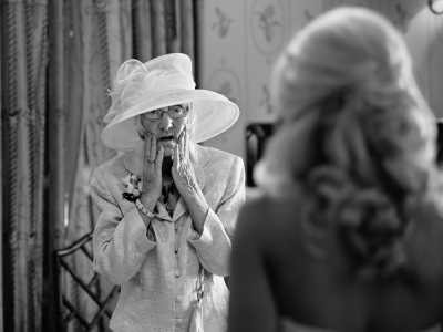 Grandmother seeing the Bride for the first time