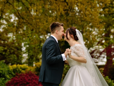 Natural moment of the Bride and Groom at Colshaw Hall in Cheshire