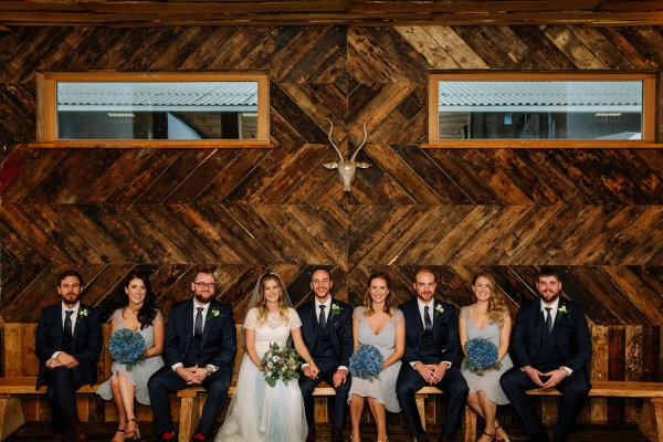 All of the Bridal Party enjoying the wedding at Owen House Barn