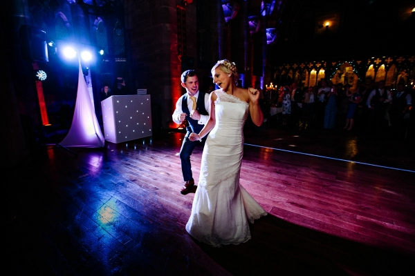 Bride and Groom dancing at Peckforton Castle in Cheshire