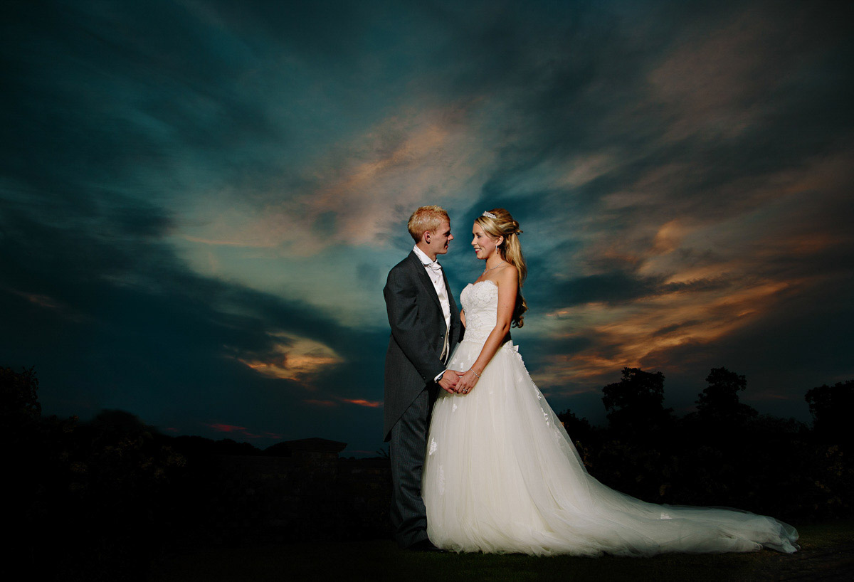 Stunning sunset picture with bride and groom at Garden Park in Cheshire