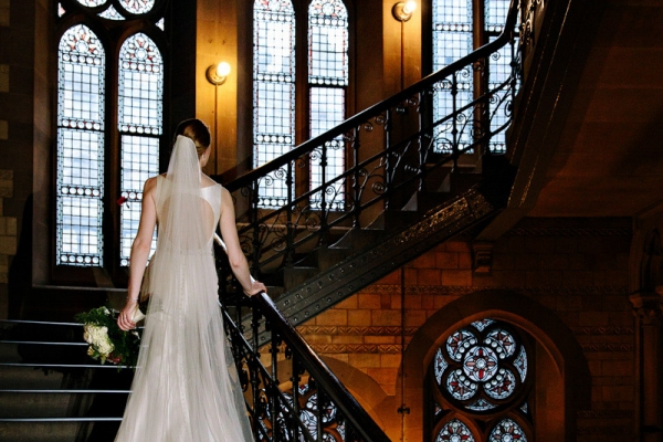 Brides dress on staircase at Manchester Town Hall