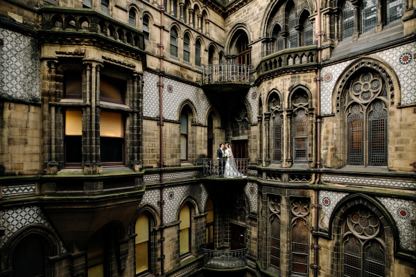 Bride and Groom at Manchester town hall with great architecture