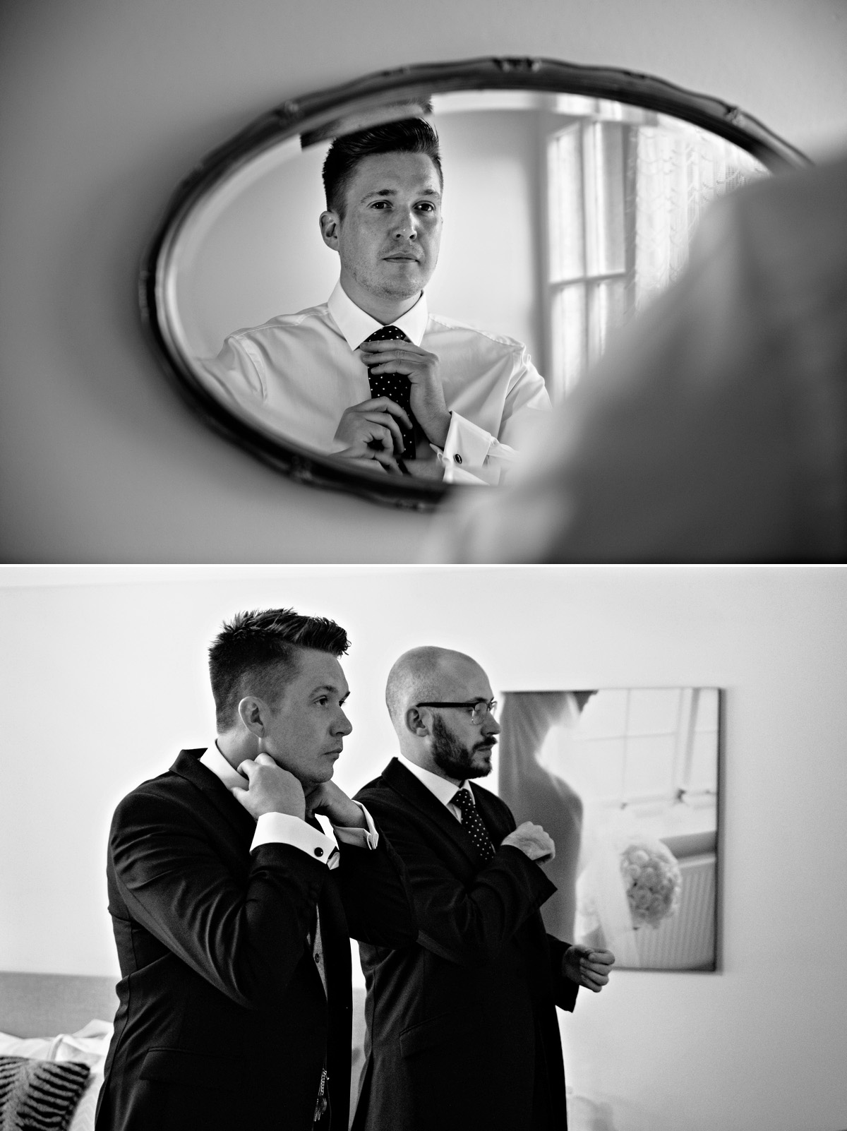 Groom and his best man getting ready