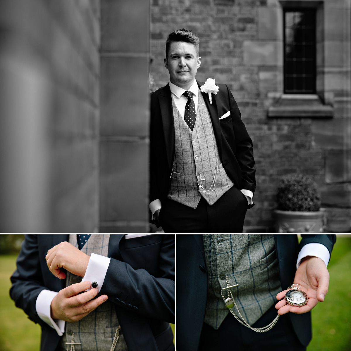 Cool groom and grooms cufflinks and pocket watch