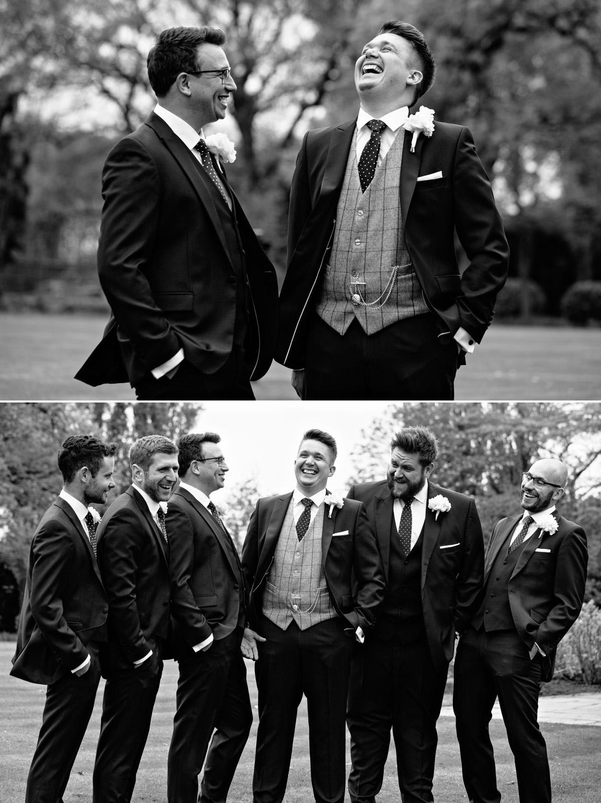 Fun wedding - groom laughing with his groomsmen