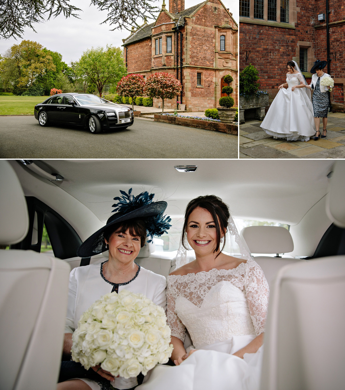 Bride with her mum leave for the wedding ceremony in luxury Rolls Royce