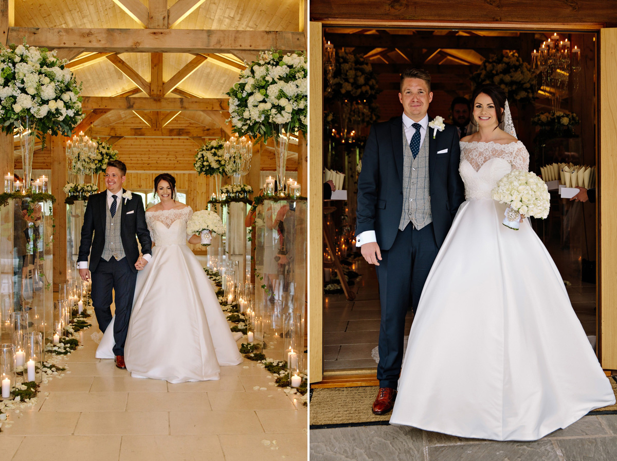 Bride and Groom exit the ceremony to rapturous applause from their wedding guests