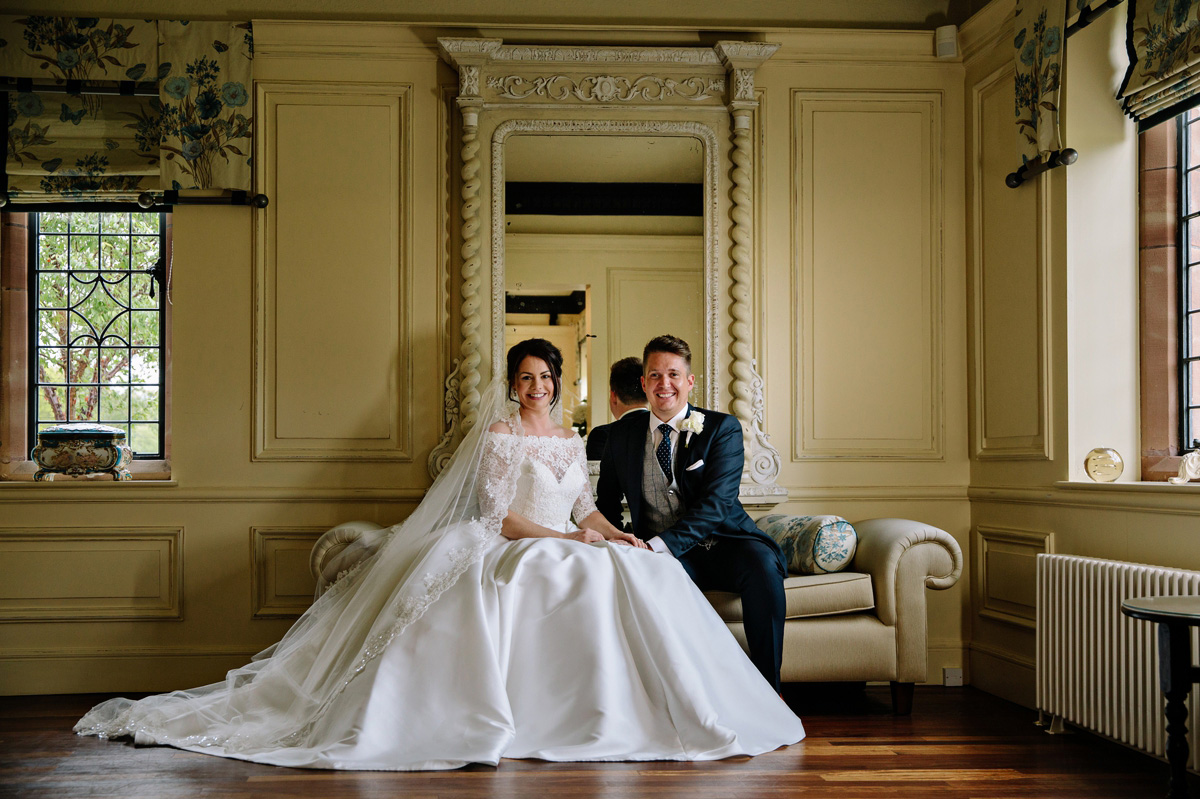 The Bride and Groom share a moment inside the luxury Cheshire wedding venue