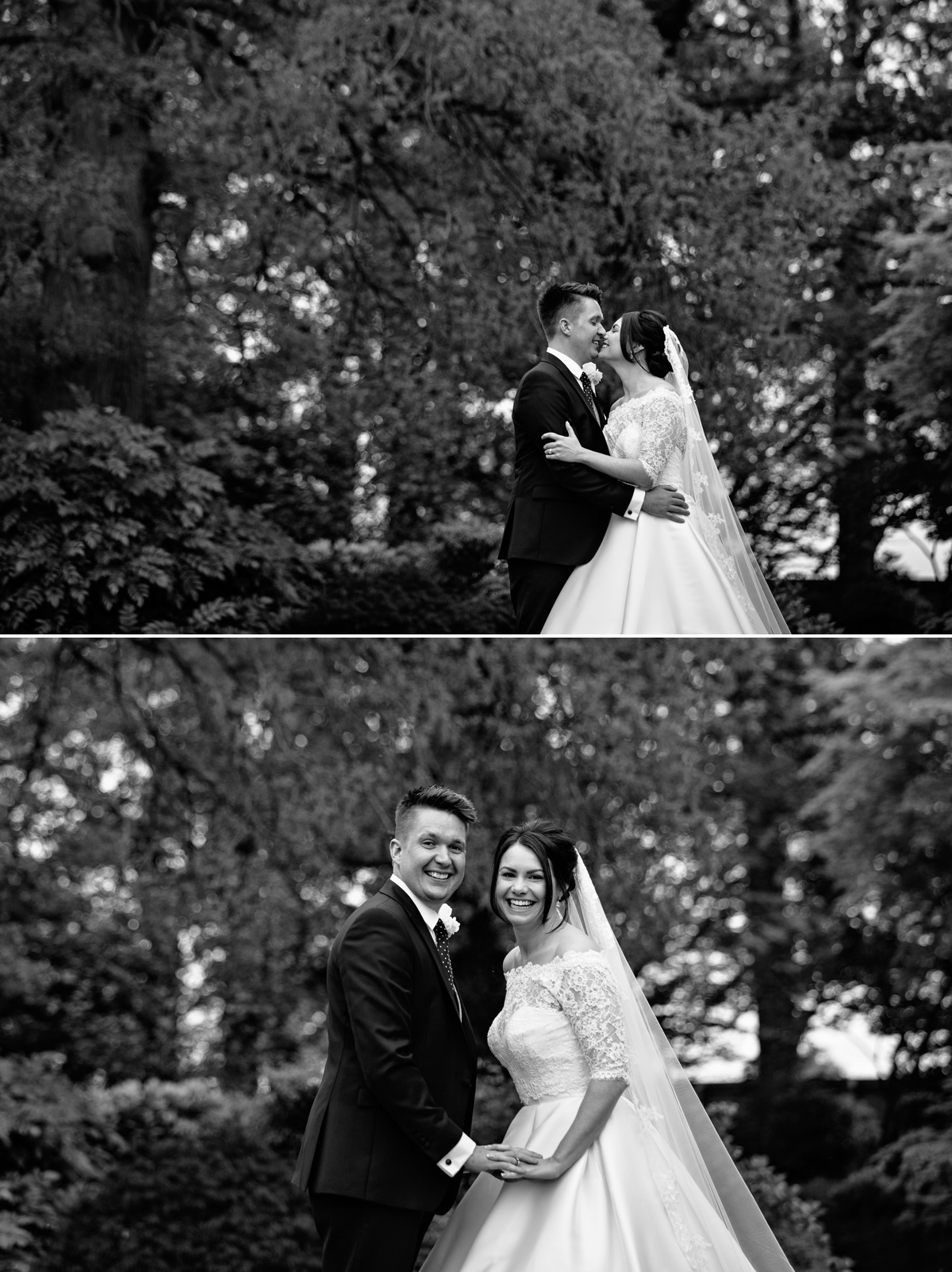 Bride and Groom share fun moment in the wedding venue grounds