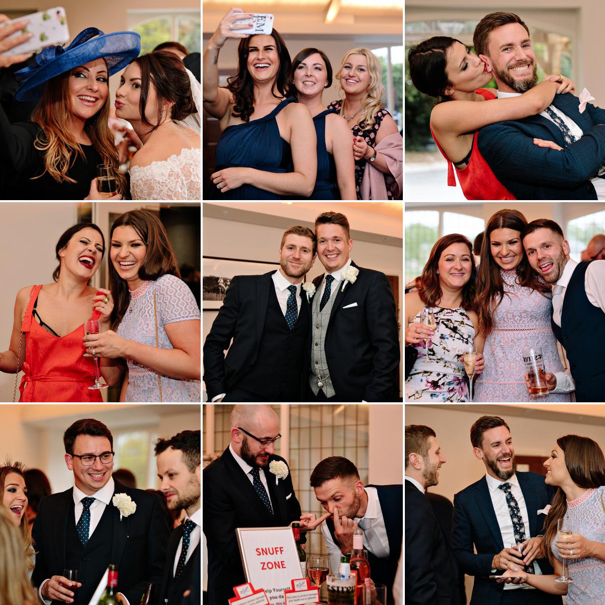 Wedding guests having fun, taking selfies