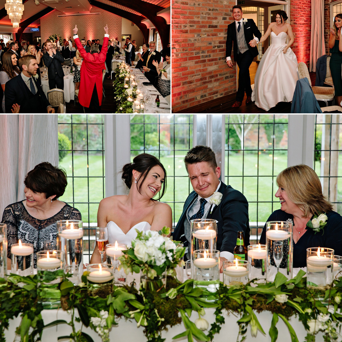 Wedding guests cheer loudly as the Bride and Groom are announced into their wedding breakfast